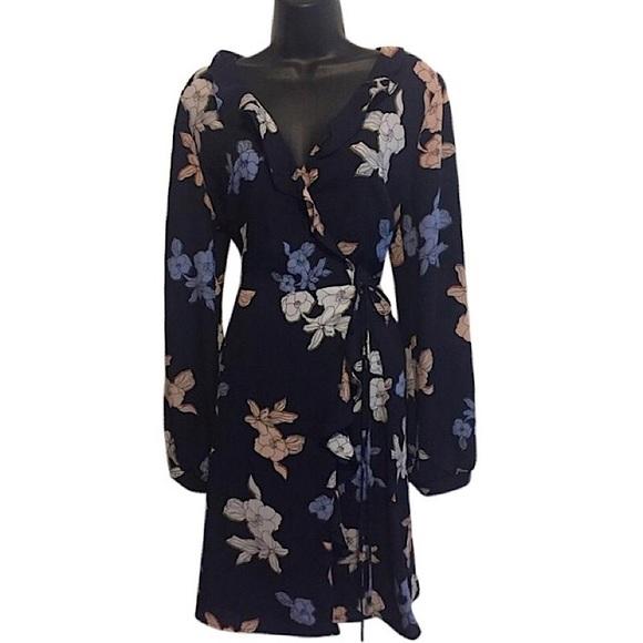 Astr Dresses & Skirts - Astr Navy Blue Floral Wrap Dress